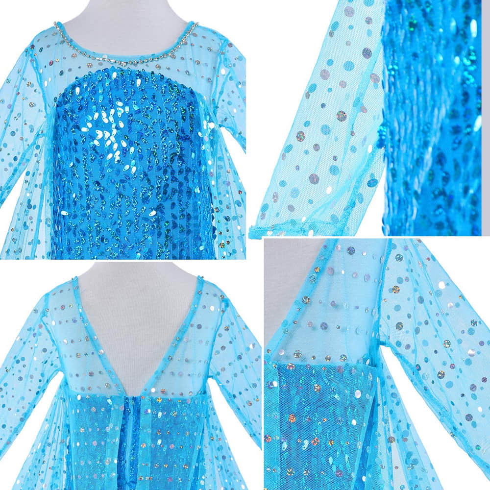 Long Sleeve Design and Shining Glitter Decorates the Bodice