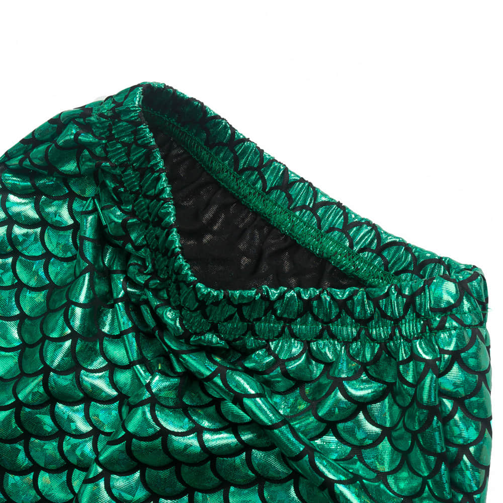 Mermaid Tail Long Skirt with Green Scale Pattern