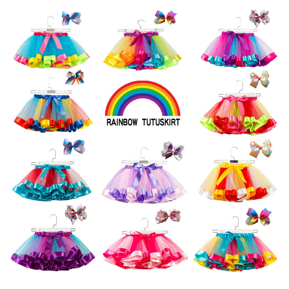 Multi-Style Rainbow Colorful Tutu Skirt for Girls Ages 3-12 Years Old