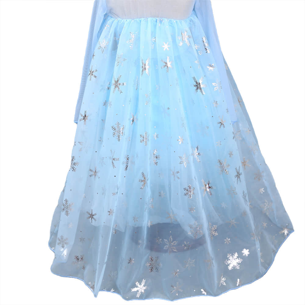 Transparent Floor Length Cape with Snowflake Pattern