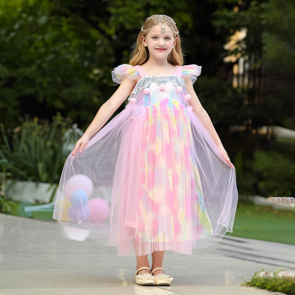 Adorable Pink Party Dress for Toddler Girls Ages 3-10 Years Old