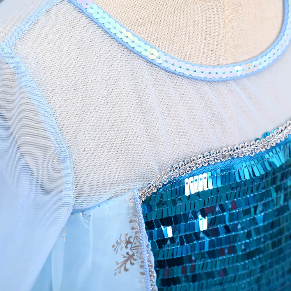 Round Neck and Long Transparent Mesh Sleeve Design