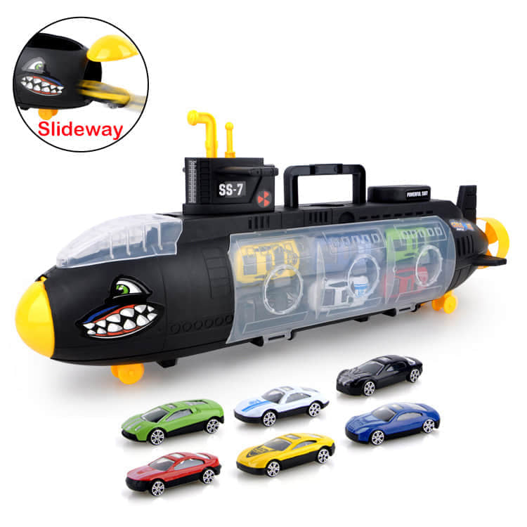 Toy Submarine Transport Car Carrier - Includes 6 Toy Metal Cars & Accessories - Great Car Toys Gift for Boys & Girls