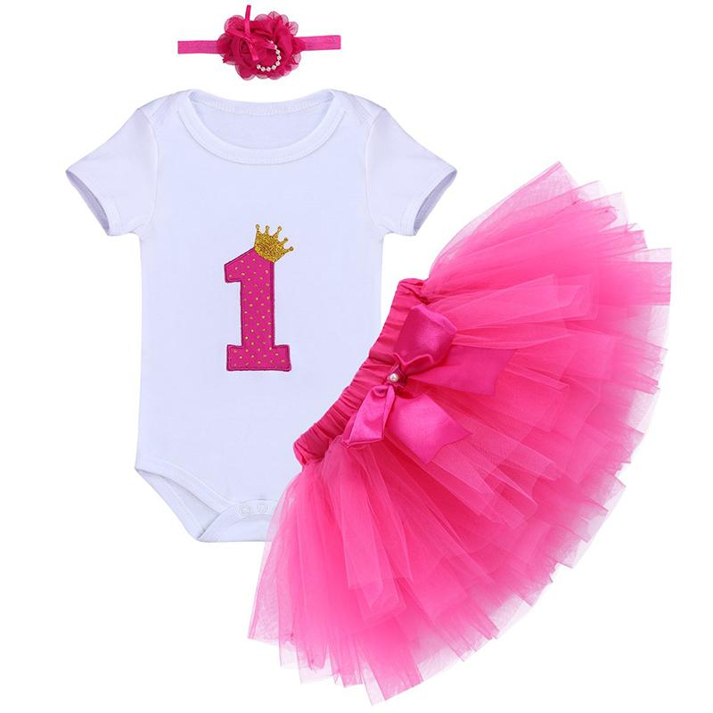 Newborn Baby Girls 1st Birthday Romper Bodysuit Bow Tutu Skirt Dress Outfit