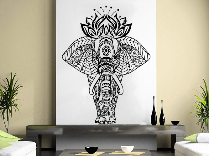 Lotus Indian Elephant Wall Decal