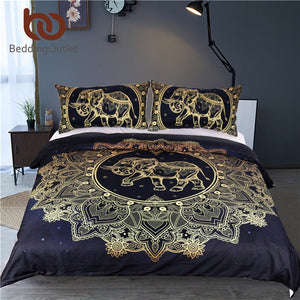 Mandala Elephant Golden Bedding Set