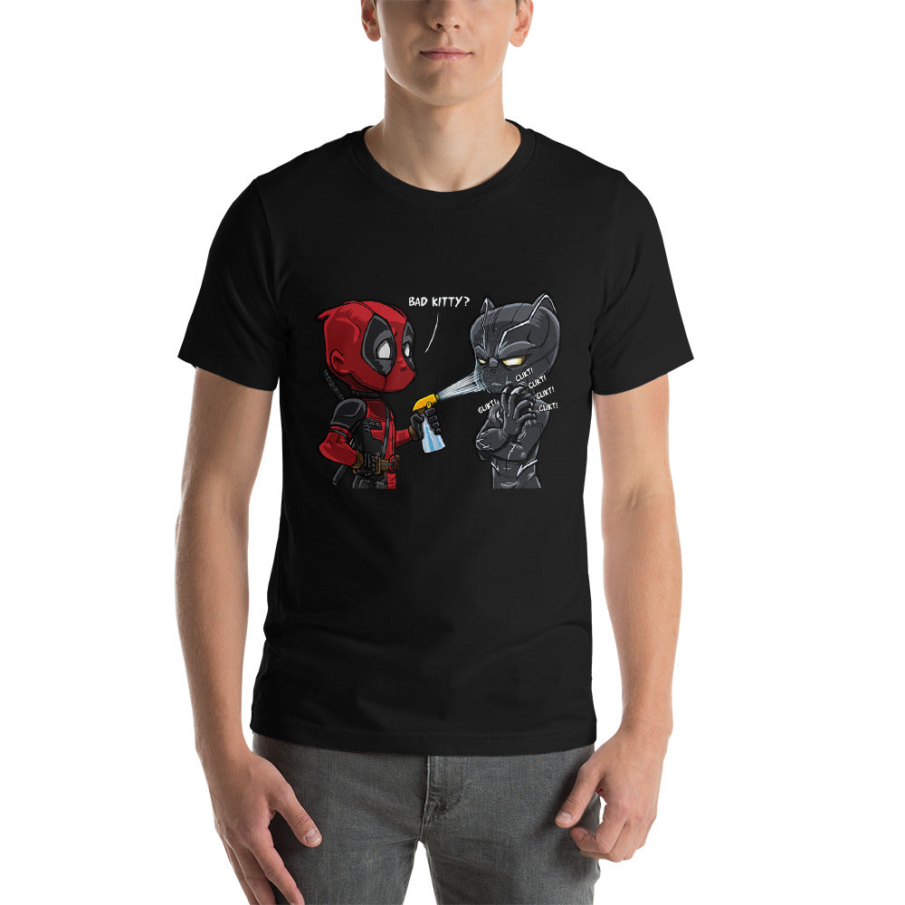 Bad Kitty Deadpool and Black Panther Short-Sleeve Unisex T-Shirt