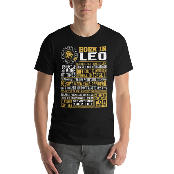Born in Leo facts Short-Sleeve Unisex T-Shirt