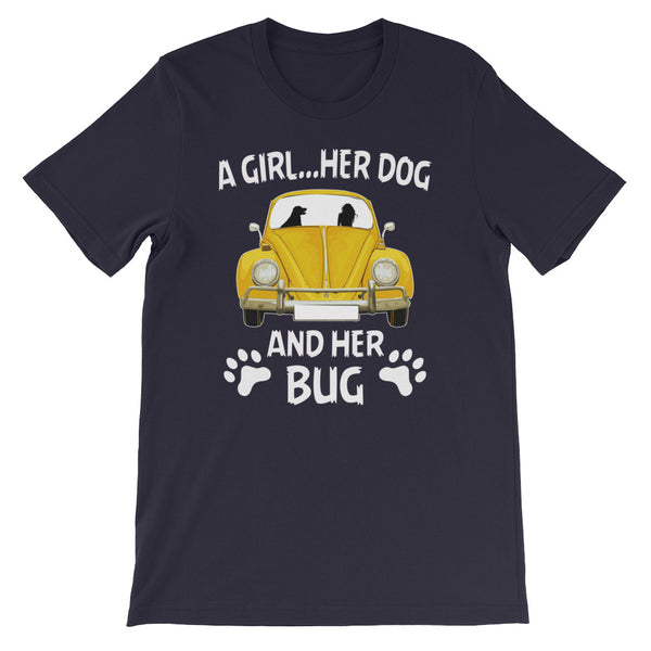 A girl her dog and her bug Short-Sleeve Unisex T-Shirt
