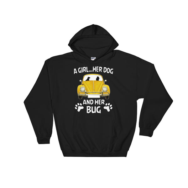 A girl her dog and her bug Hooded Sweatshirt