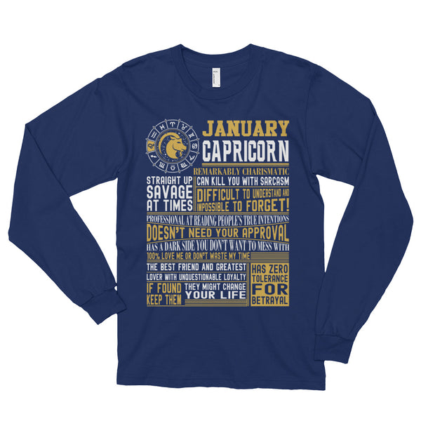 Born in January Capricorn facts Long sleeve t-shirt (unisex)