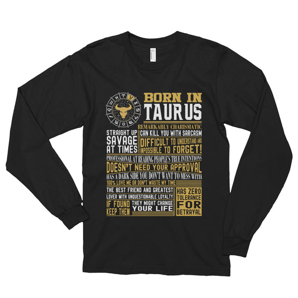 Born in Taurus facts Long sleeve t-shirt (unisex)