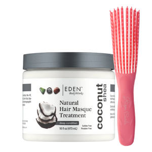 Combo : Edenbody Works Coconut Shea Natural hair Mask + Rizos Curls detangling flexibrush