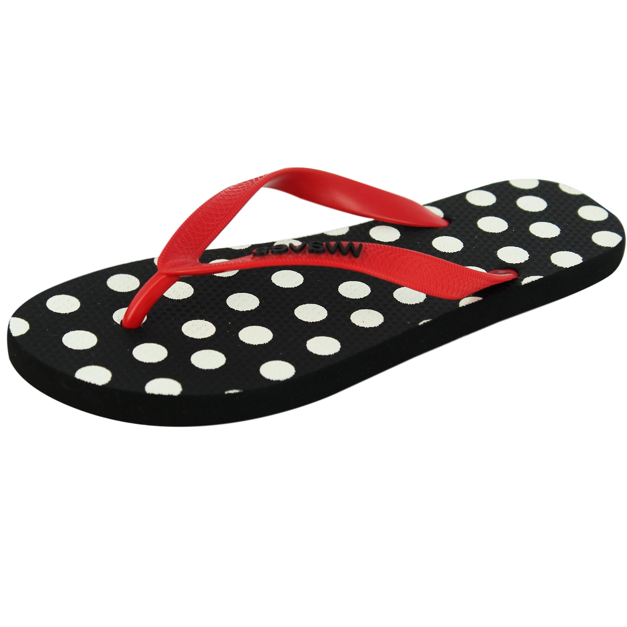 Black and White Polka Dot Flip Flops, Women's