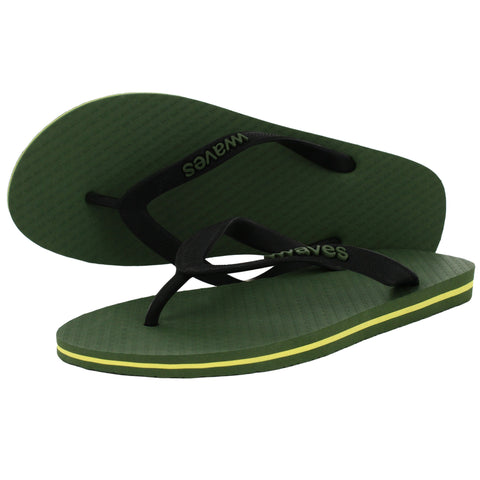 Kahki Green with Yellow Stripe Tapered Flip Flops, Men's