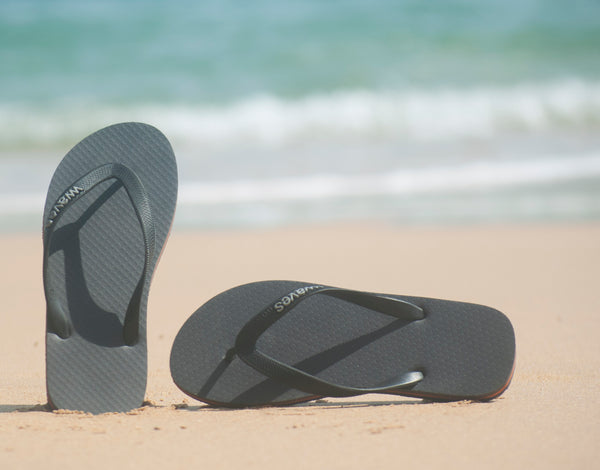 Gray and Orange Tapered Flip Flops, Men's