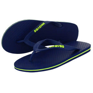 Navy Blue with Lime Green Stripe Tapered Flip Flops, Men's
