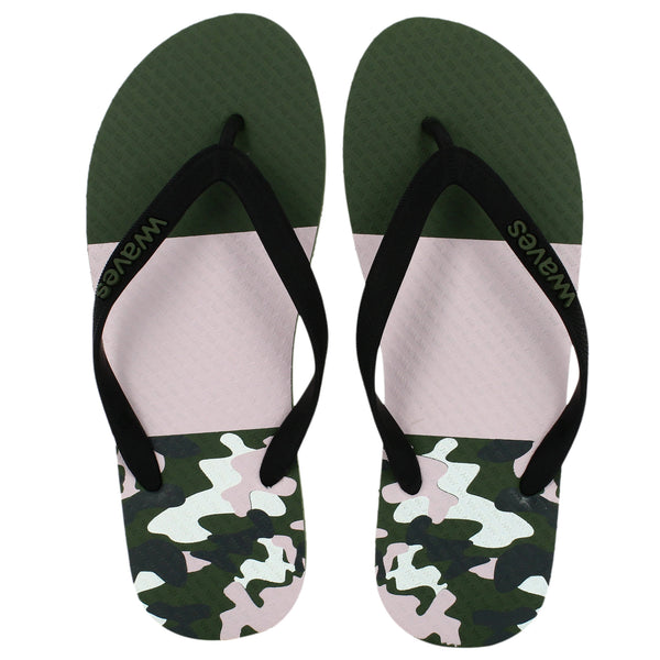 Khaki Green and White Camo Tapered Flip Flops, Men's