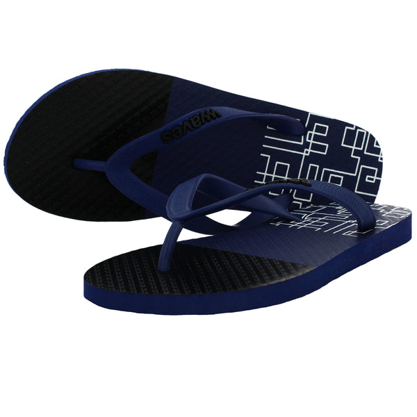 Navy Blue and Black Geometric Tapered Flip Flops, Men's