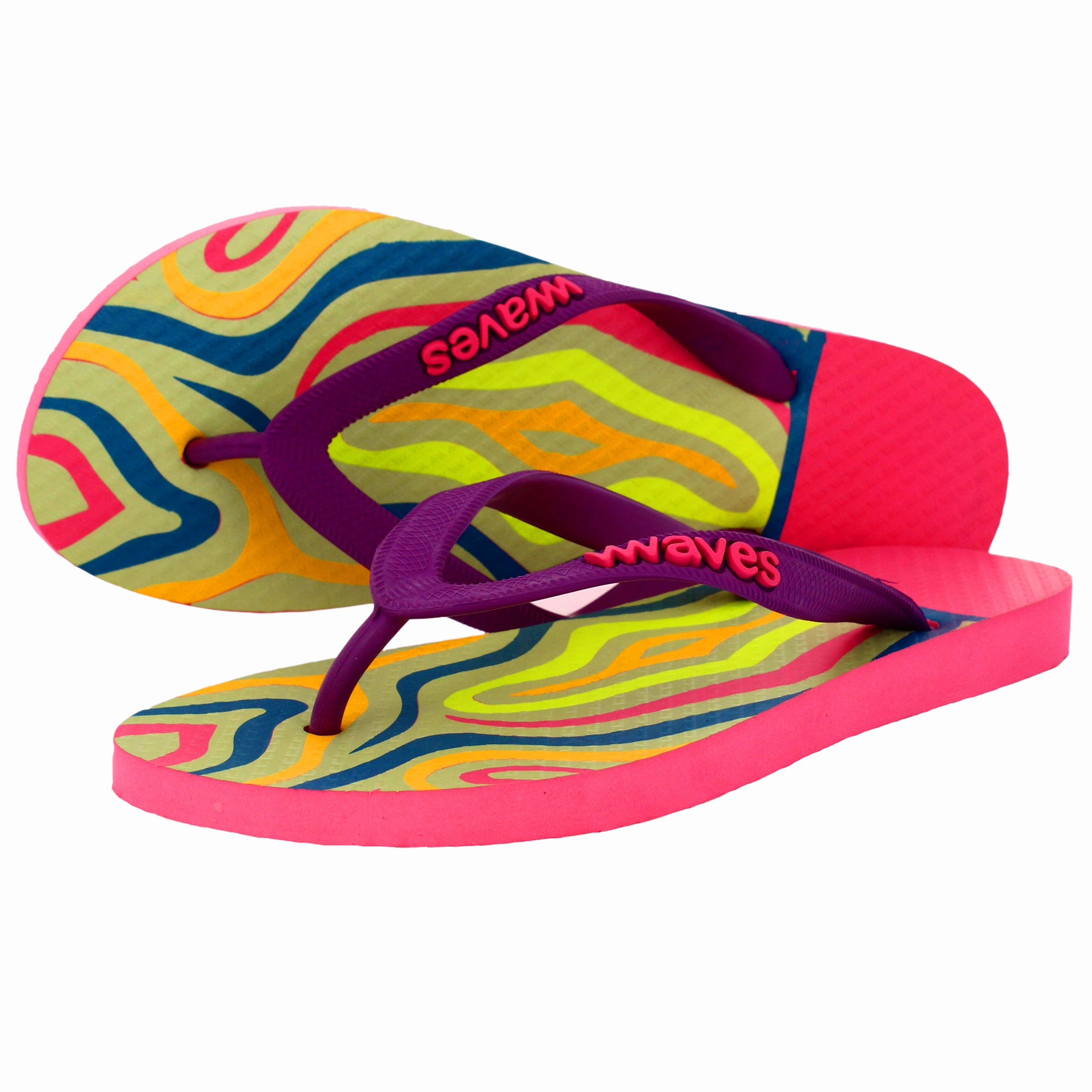 Multicolored Lines Tapered Flip Flops, Women's