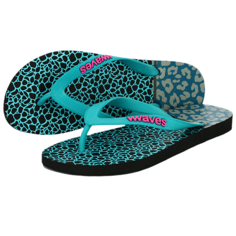 Aqua Print Tapered Flip Flops, Women's