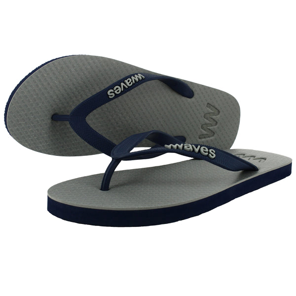 Gray and Navy Twofold Flip Flops, Men's