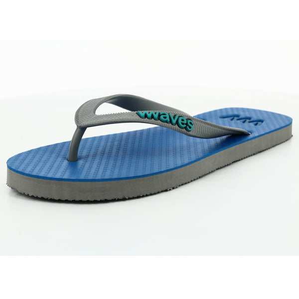 Blue and Gray Twofold Flip Flops, Men's