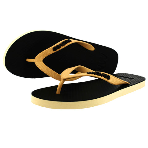 Black and Beige Twofold Flip Flops, Men's