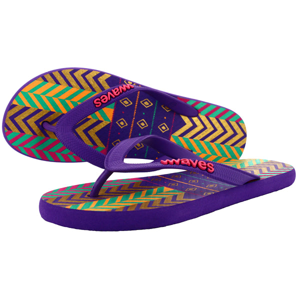 Purple Tribal Pattern Flip Flops, Women's