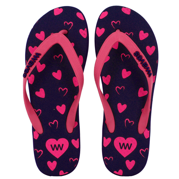 Navy Blue and Pink Heart Flip Flops, Women's