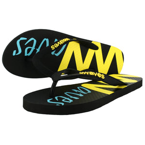 Waves Black Flip Flops, Men's
