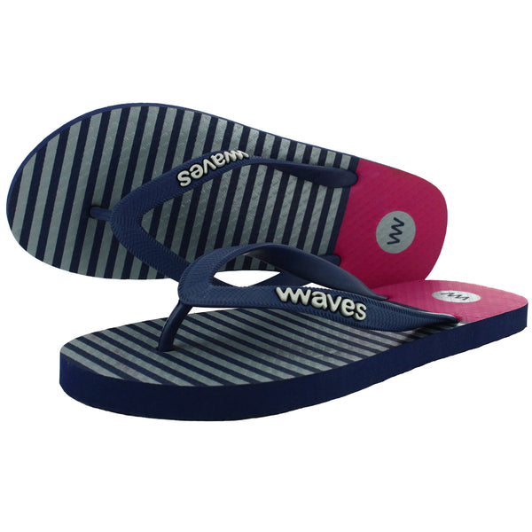Gray Stripe and Maroon Flip Flops, Men's