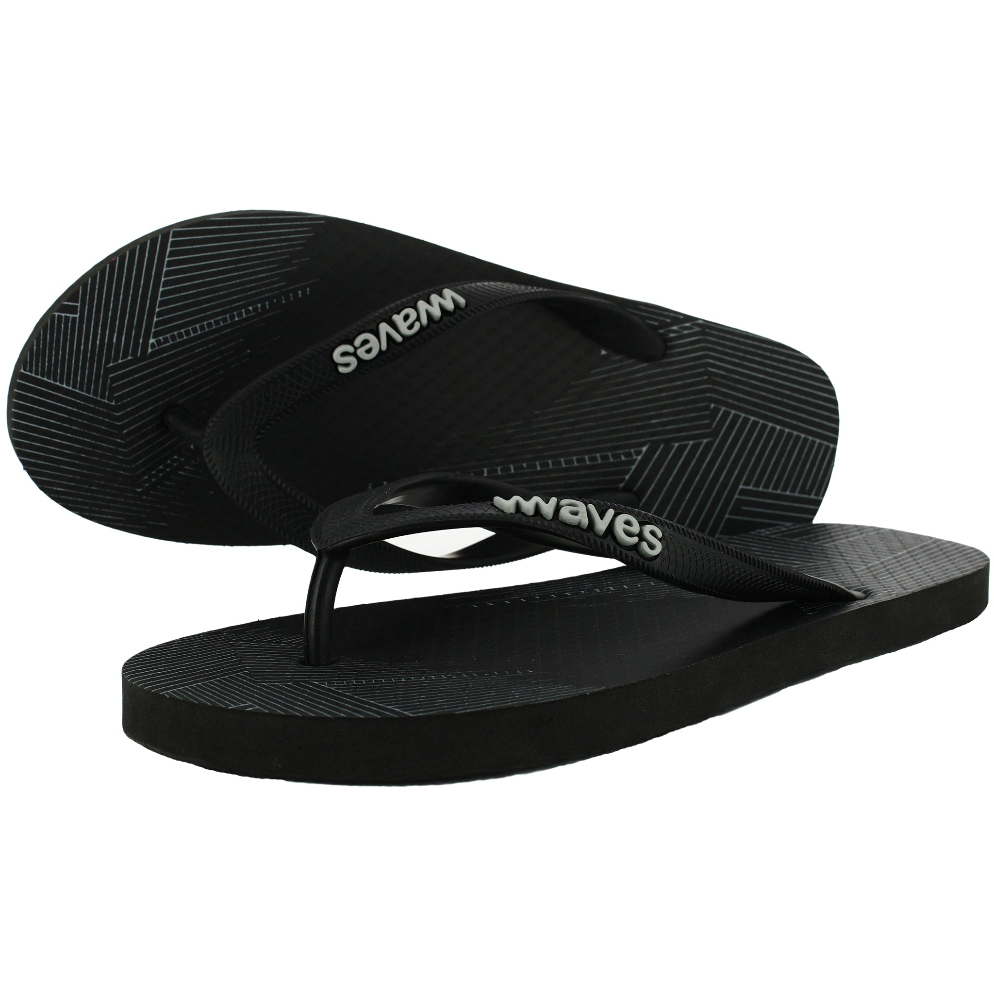 Black Lined Classic Flip Flops, Men's