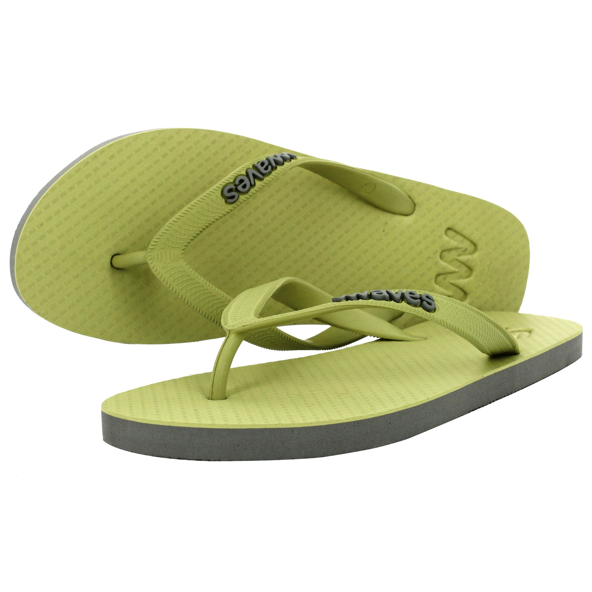 Olive Green and Gray Twofold Flip Flops, Men's