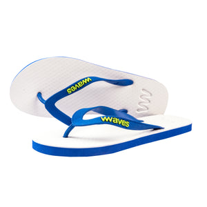 White and Blue Twofold Flip Flops, Men's