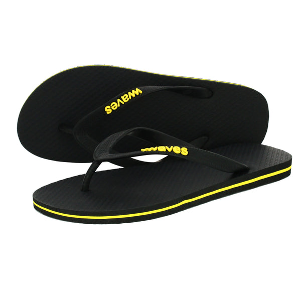 Black with Yellow Stripe Men's Flip Flops