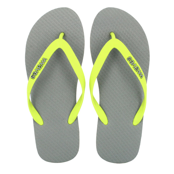Gray with Lime Green Men's Flip Flops