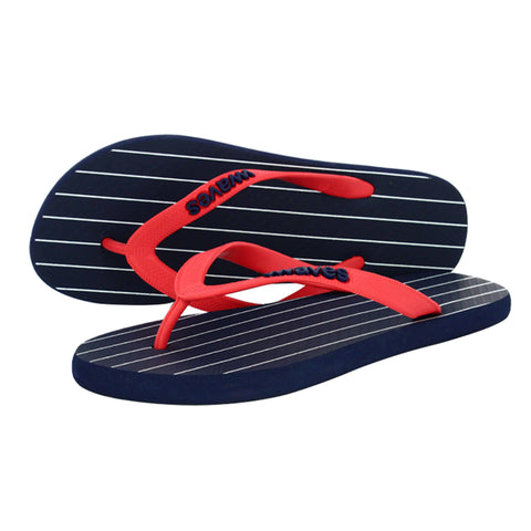 Navy Blue with White Stripe Women's Flip Flops