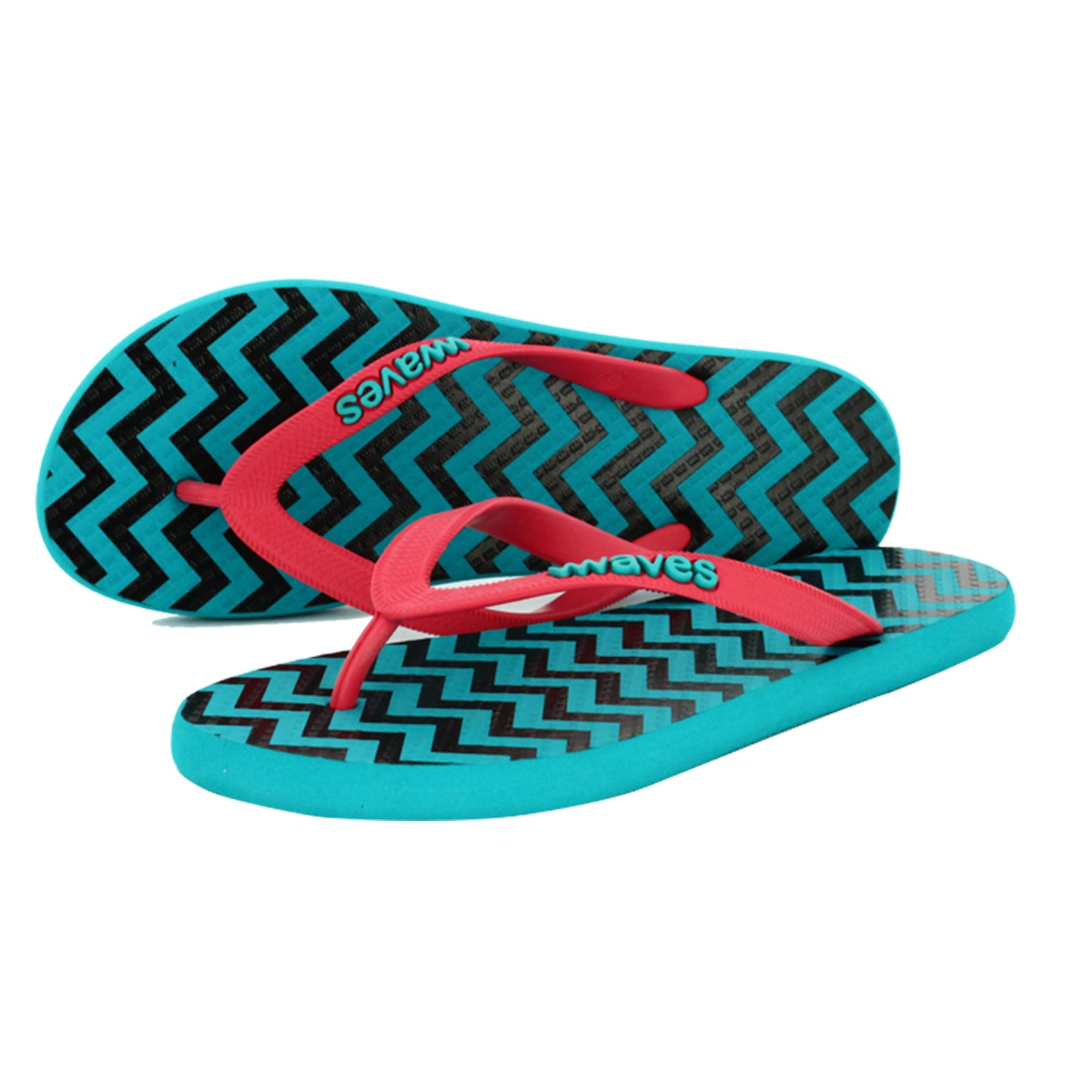 Turquoise with Black Zig Zag Women's Flip Flops