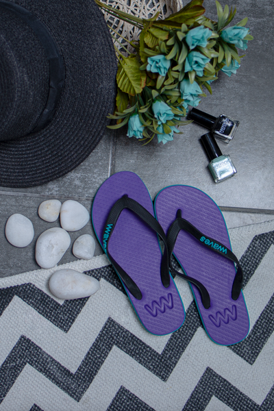 Purple and Turquoise Twofold Women's Flip Flops