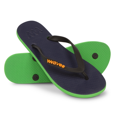 Navy Blue and Green Twofold Flip Flops, Women's