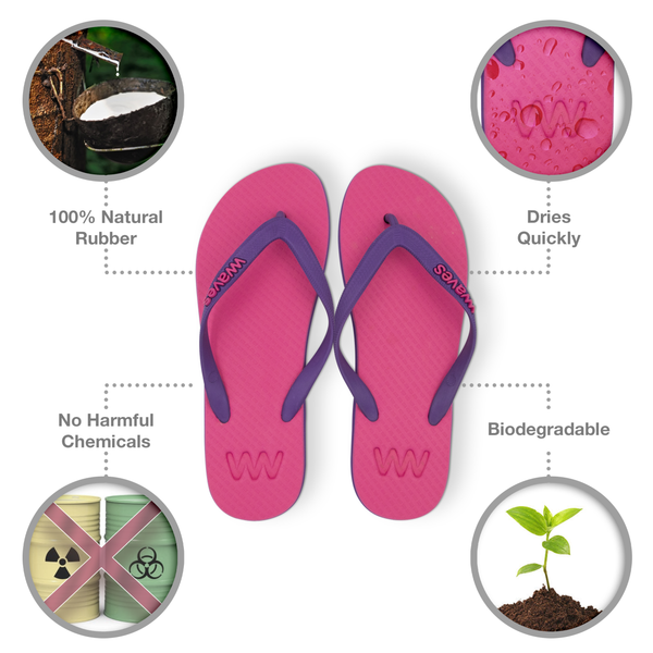 Purple and Pink Twofold Flip Flops, Women's