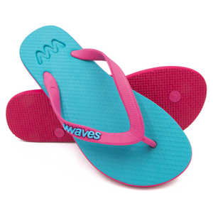 Turquoise and Magenta Twofold Flip Flops, Women's