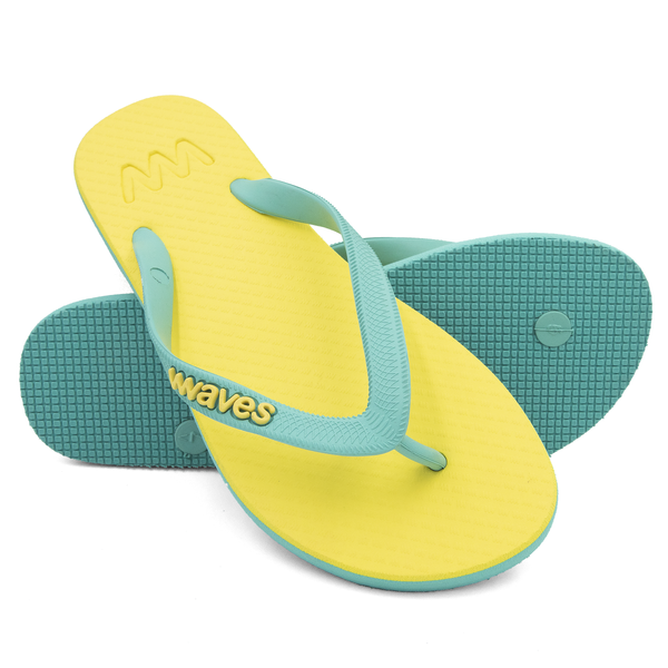 Yellow and Aqua Twofold Flip Flops, Women's