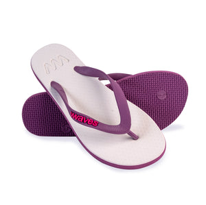 Purple and Off-White Twofold Flip Flops, Women's