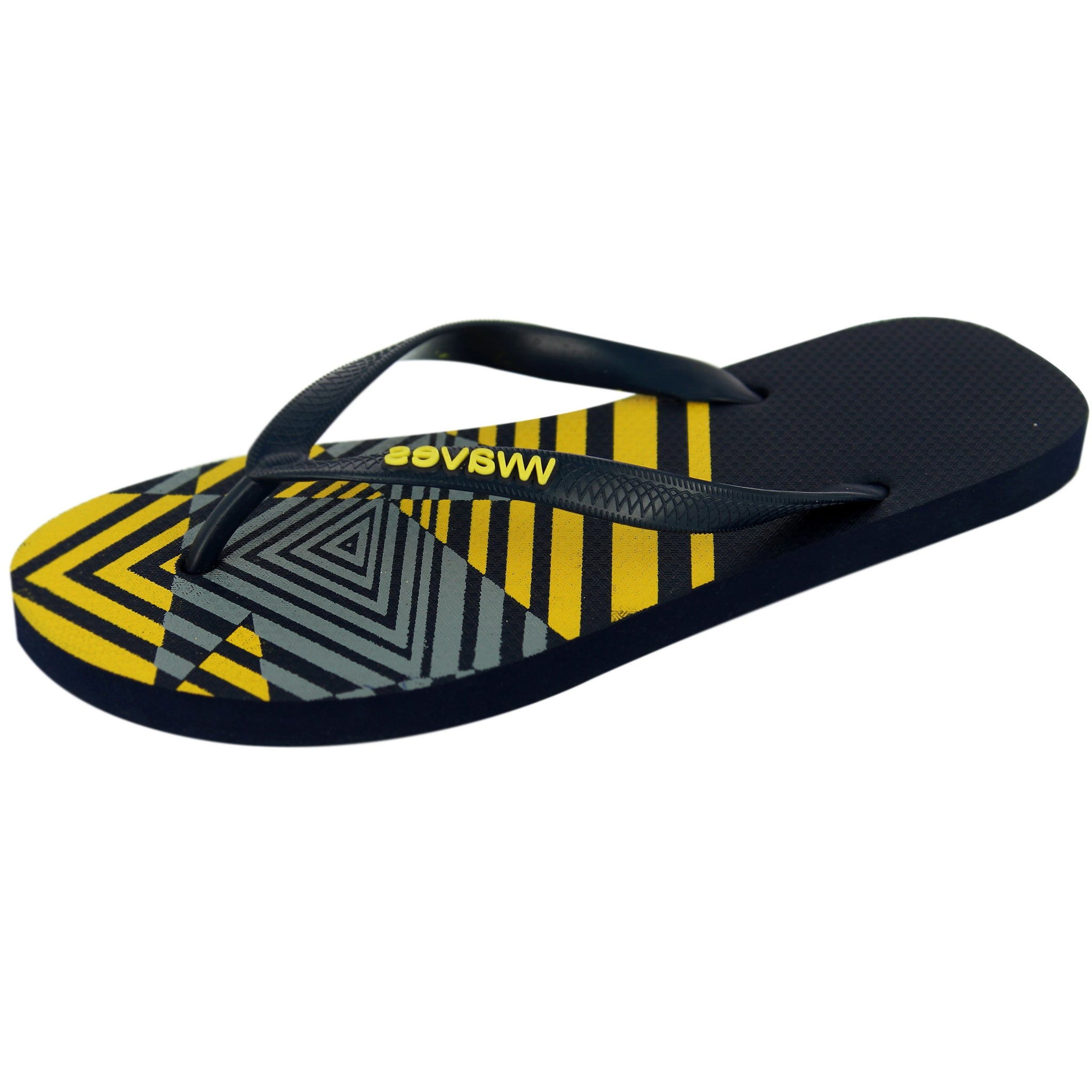 Navy Blue and Yellow Star Print Flip Flops, Men's