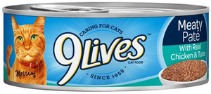 9 Lives Meaty Pate with Chicken and Tuna Dinner Canned Cat Food