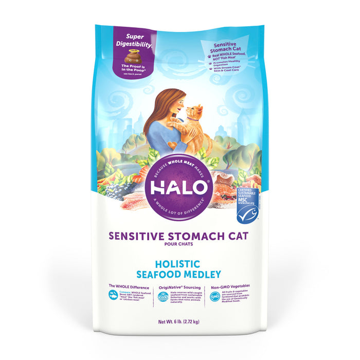 Halo Sensitive Stomach Holistic Seafood Medley Dry Cat Food