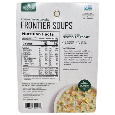 Frontier Broccoli Cheddar Soup Mix- No salt added-4.25 oz. - Healthy Heart Market