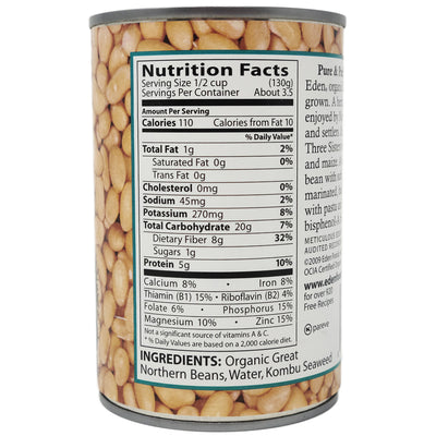 Eden No Salt Added Great Northern Beans-15 oz.